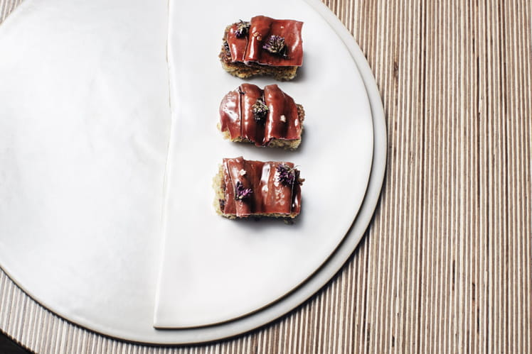 Sushi de freekeh et cœur de veau laqué aux feuilles de citron