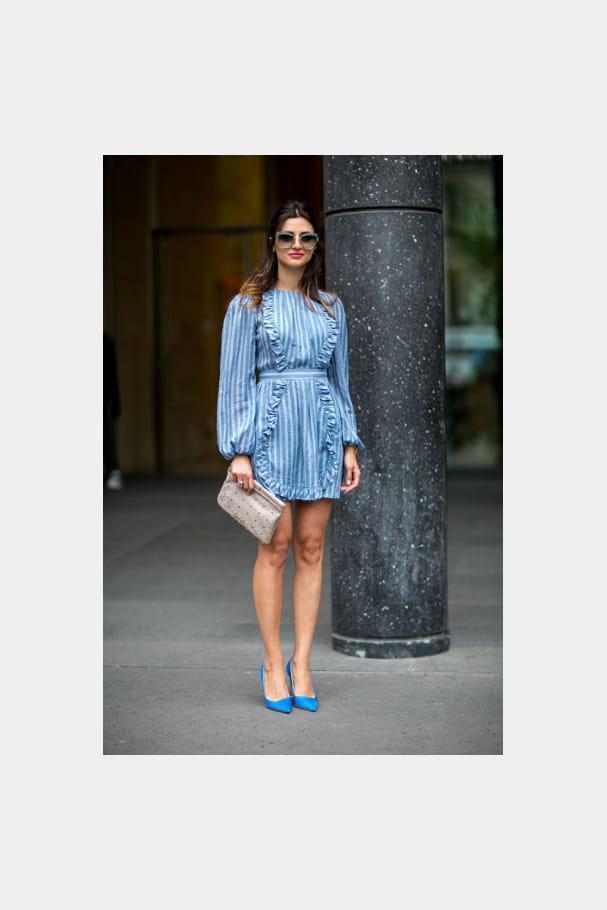 Street looks fashion week haute couture : rayé