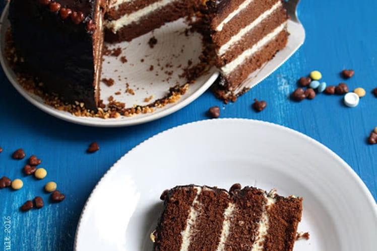 Cake au chocolat au lait et crème au chocolat blanc