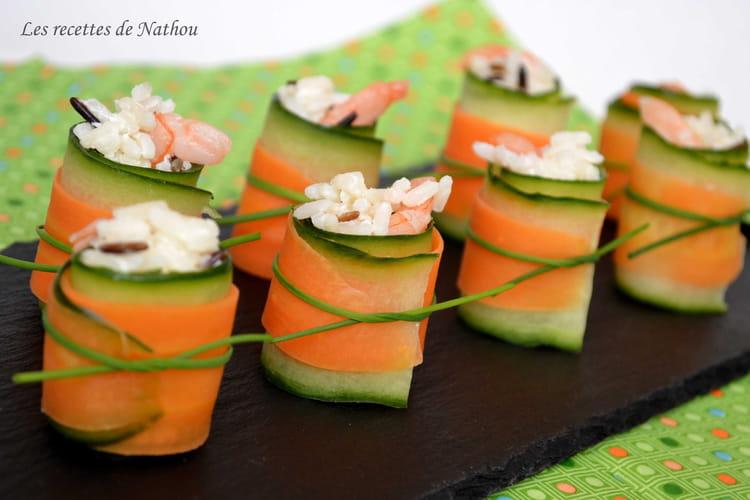 Roulades concombre - carotte au riz et crevettes