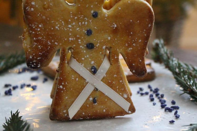 Biscuits angéliques au miel et framboises, éclats de fleurs de violette