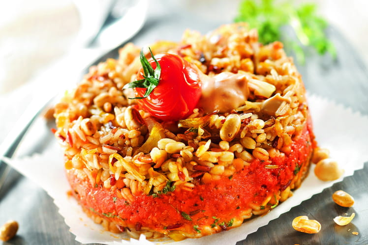 Céréales aux poireaux, fenouil et farce végétale au cerfeuil