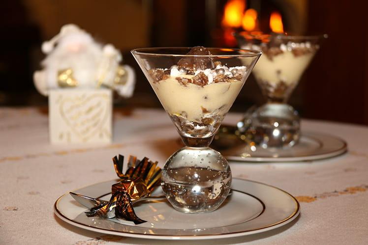 Verrines à la crème de marrons et marrons glacés