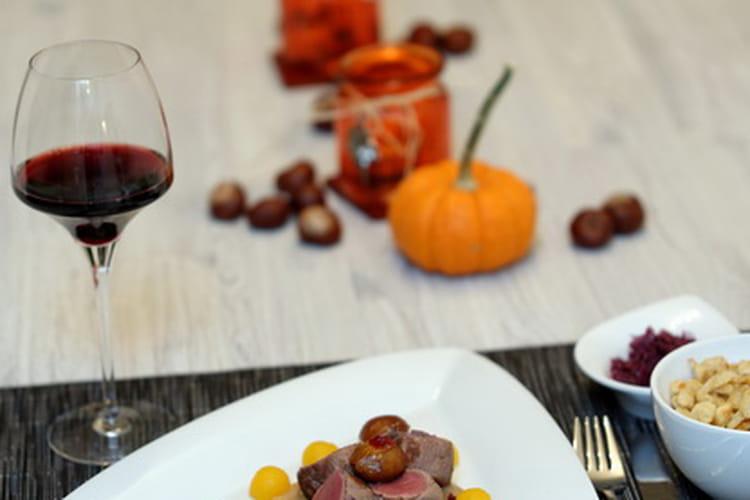 Filet de cerf sauce aux châtaignes et fève Tonka
