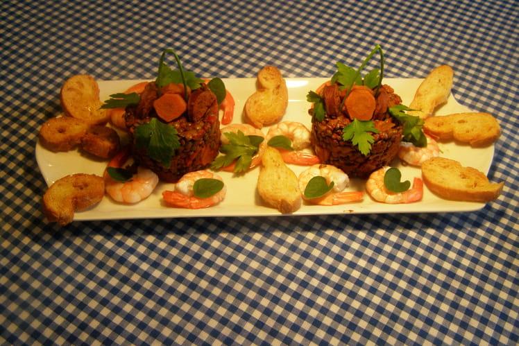 Lentilles aux chorizo et crevettes