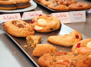 cookies 'au saut du lit' (bananes, cerneaux de noix et cannelle) et 'cookie