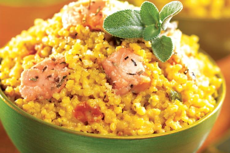 Maïs fondant façon risotto au saumon