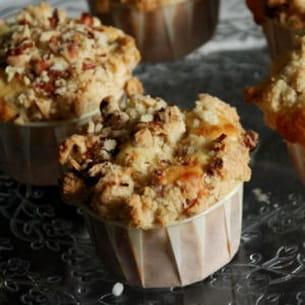muffins façon crumble citron, cranberry, noisettes