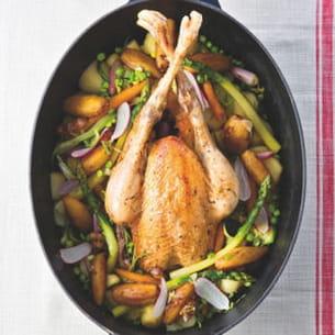 poulet fermier d'auvergne rôti en cocotte lutée