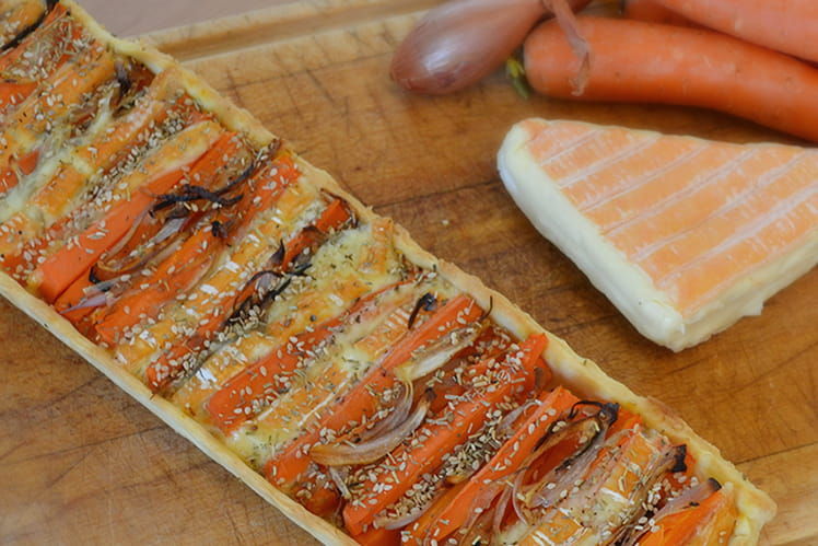 Tarte carottes, échalotes et vieux pané