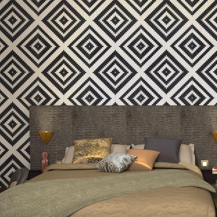 un papier peint ethnique chic. Black Bedroom Furniture Sets. Home Design Ideas