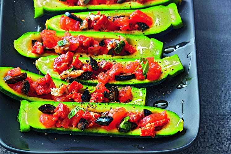 Baby courgette farcie tomate et chorizo