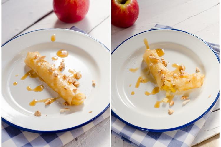 Croustillant aux pommes, crème à la citronnelle, caramel de pommes au beurre salé et amandes torréfiées