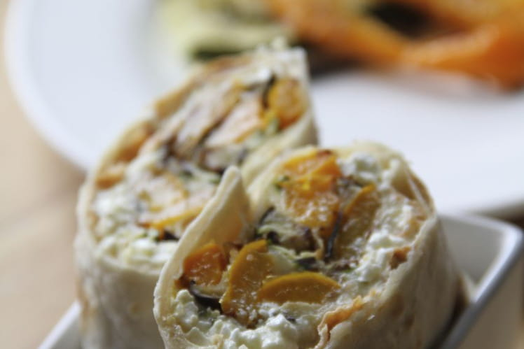 Wrap aux légumes grillés et au cottage cheese