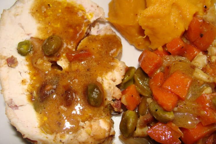 Rôti de dinde aux pistaches et lardons