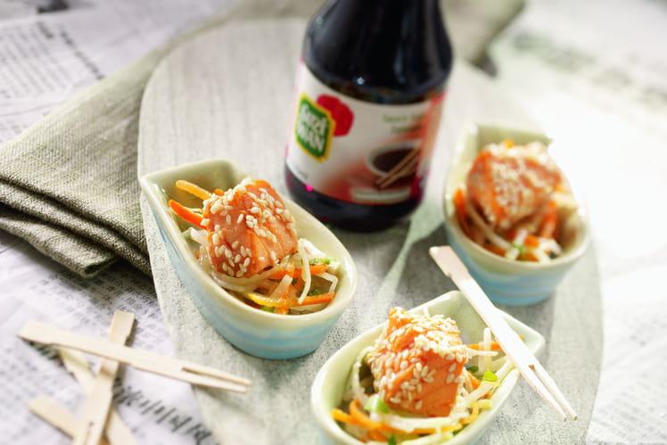 Saumon mariné à la sauce soja et au sésame