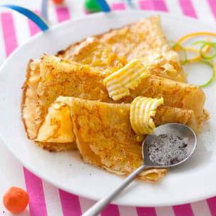 crêpes au beurre d'agrumes et sucre vanillé
