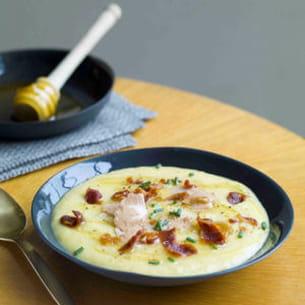soupe de maïs et céleri au miel de fleurs