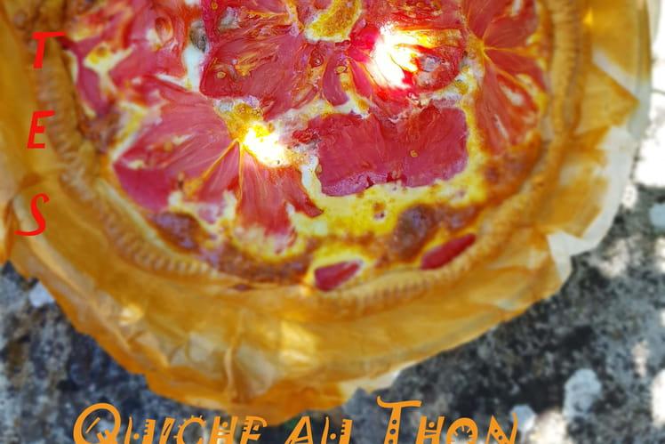 Quiche au thon, tomates anciennes