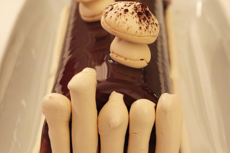 Bûche chocolat, caramel et vanille