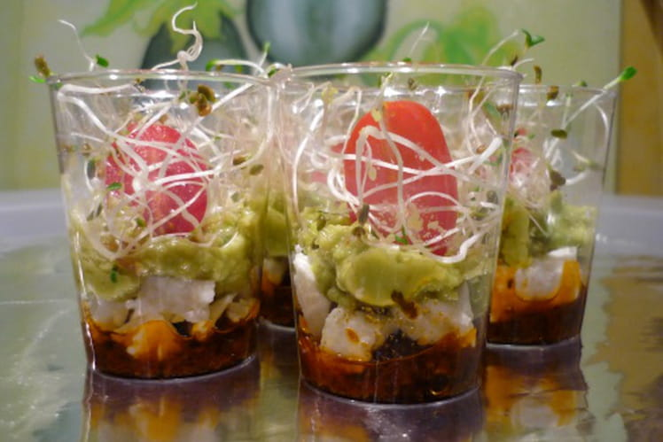 Verrines du soleil au guacamole