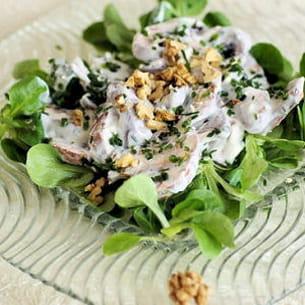 salade de champignons à la sauce crémeuse