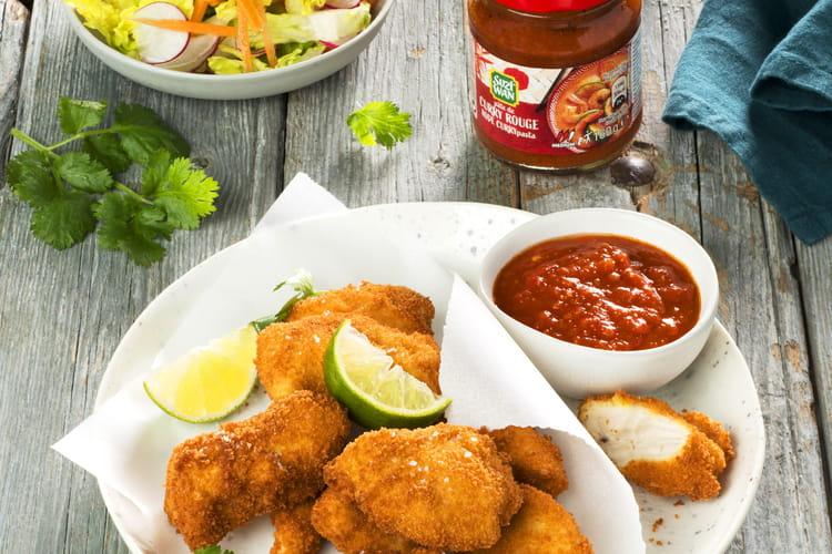 Nuggets de poulet sauce au curry rouge
