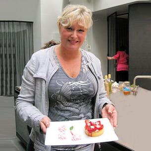 sophie dudemaine, avec la tarte fraise-basilic.