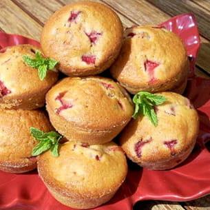 muffins aux fraises et à la menthe