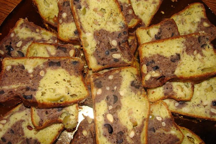 Cake marbré pesto tapenade