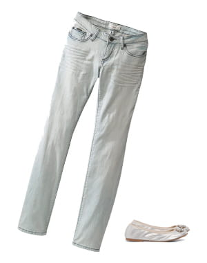jean blanc de la halle et ballerines argentées de liu jo