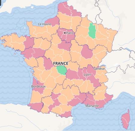carte du taux d'incidence des cas covid france région