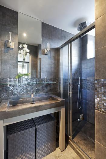 Petite salle de bains grise et lumineuse for Salle de bain lumineuse