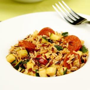 risotto aux courgettes et chorizo