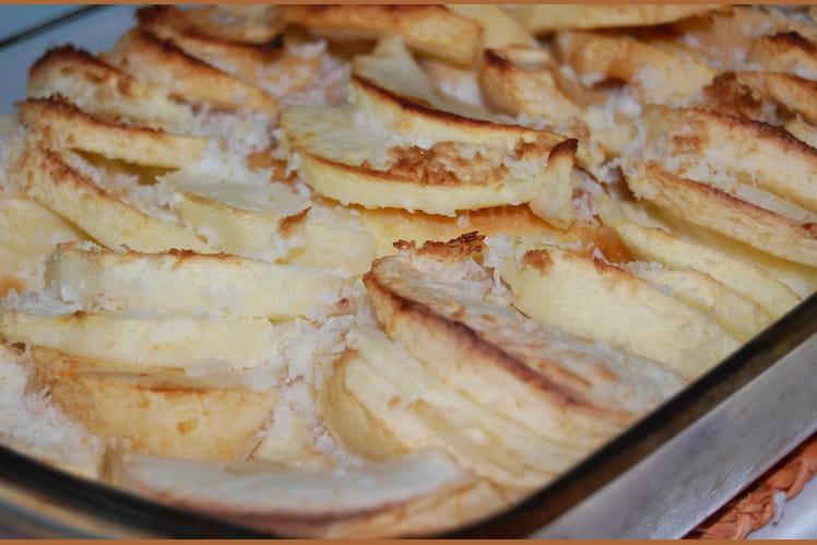 Pommes au four, noix de coco et palets bretons