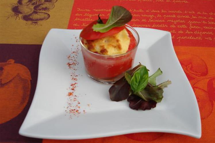 Tomates soufflées au cabillaud, basilic et piment d'Espelette