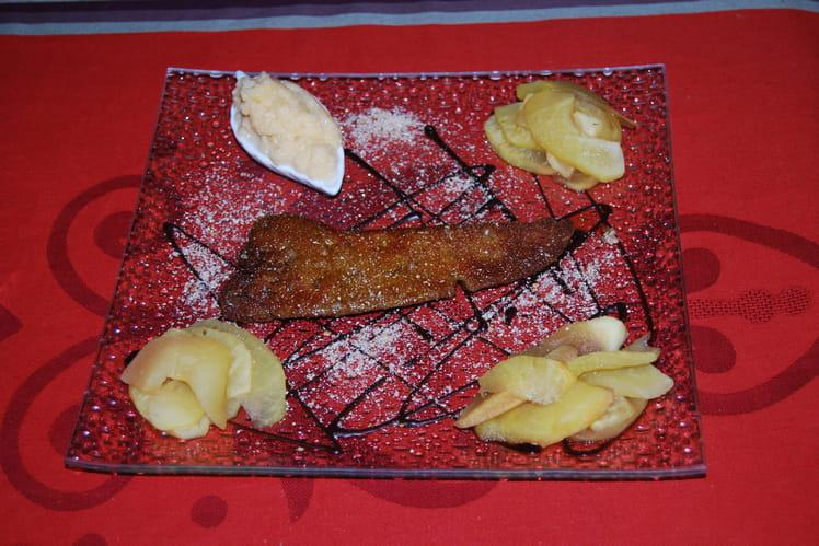 Foie gras poêlé au chocolat, purée de rutabaga