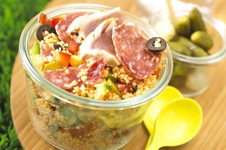 Taboulé de saucisson sec cornichons olives thon