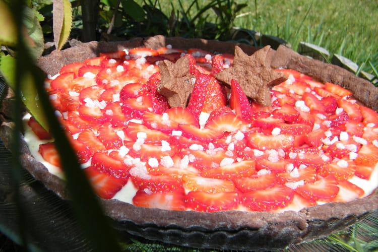 Tarte panna cotta rhubarbe aux fraises