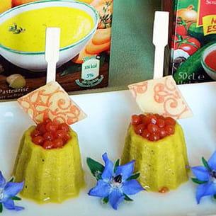 soupe froide de poivron doux & épices alvalle aux moules et caviar de tomates