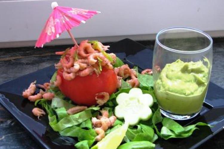 Tomates, crevettes et guacamole
