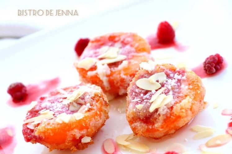 Beignets d'abricots à la framboise et noix de coco