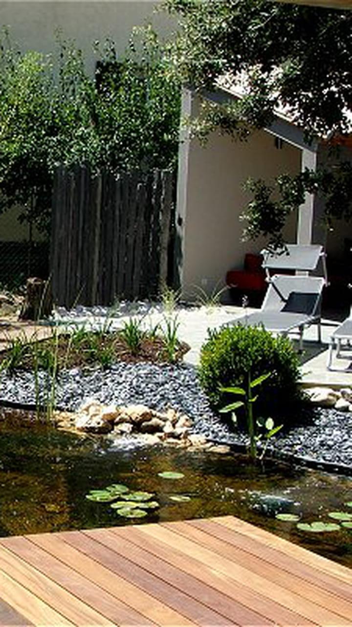 Bassin Hors Sol Parpaing avant-après jardin zen