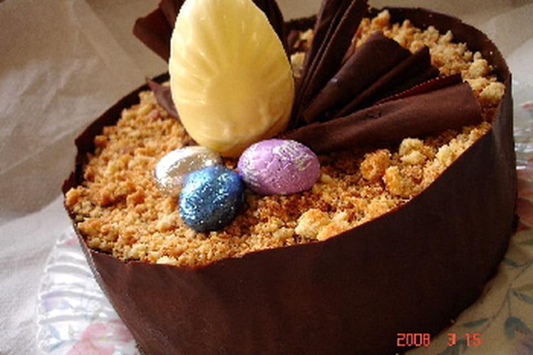 Entremets à la mousse au chocolat et aux palets bretons