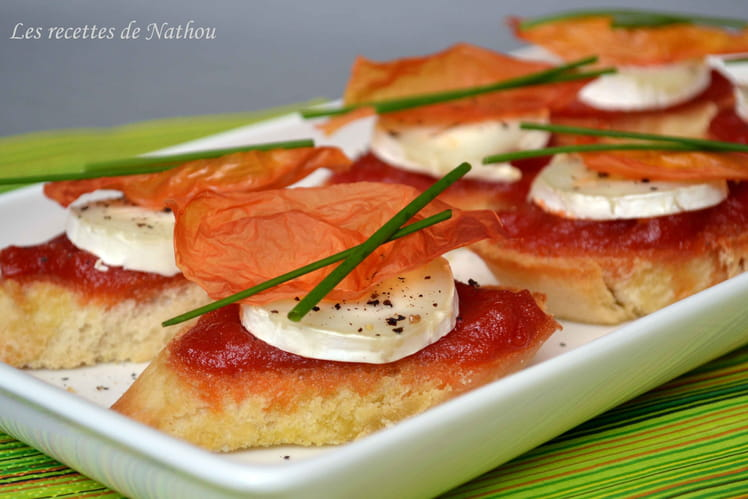 Bruschettas au confit de tomates et fromage de chèvre