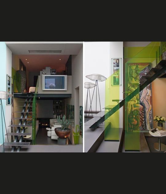 La mezzanine et l'escalier