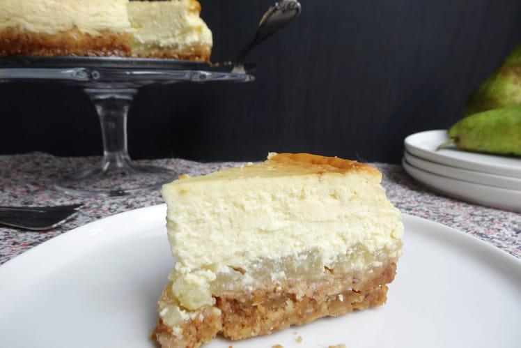 Cheesecake aux poires, vanille et pralin