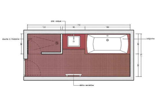 plan salle de bain avec douche italienne et baignoire. Black Bedroom Furniture Sets. Home Design Ideas