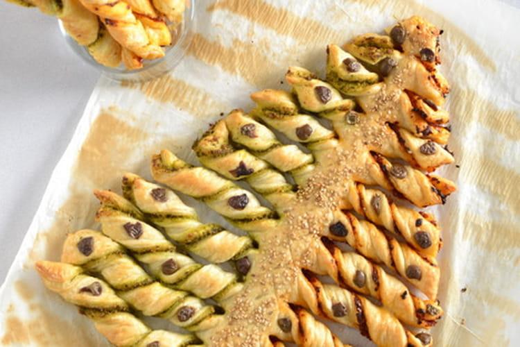 Sapin feuilleté olive et graines de sésame