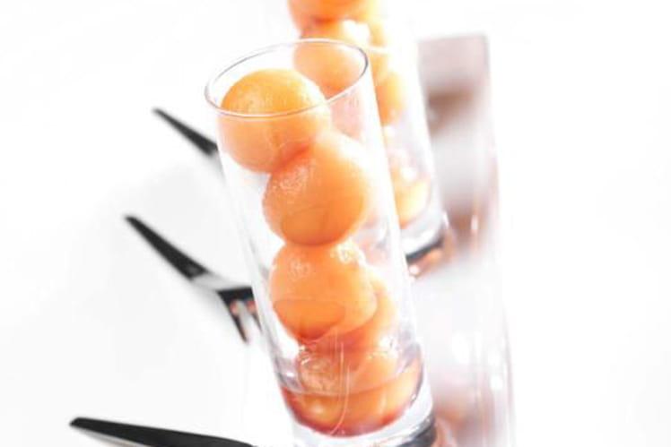 Perles de melon au cassis